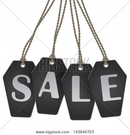 Halloween black coffin shaped tags sale announcement vector template. Black Friday flyer design.