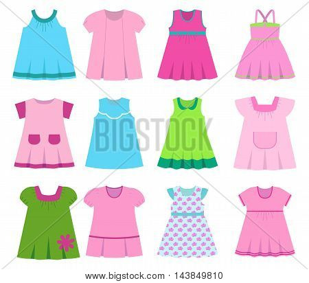 Set children's summer dress on a white background. Vector illustration.