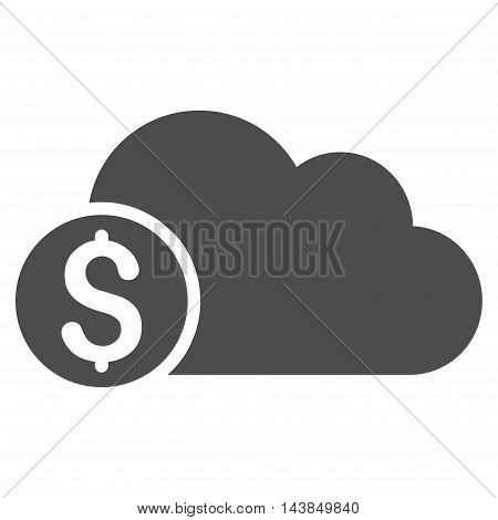Banking Cloud icon. Vector style is flat iconic symbol with rounded angles, gray color, white background.