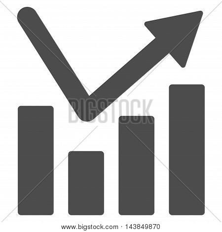 Bar Chart Trend icon. Vector style is flat iconic symbol with rounded angles, gray color, white background.