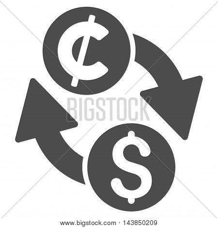 Dollar Cent Exchange icon. Vector style is flat iconic symbol with rounded angles, gray color, white background.