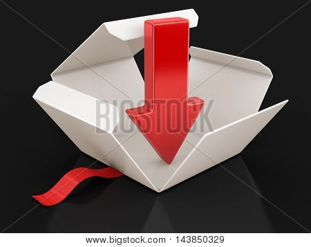 3D Illustration. Open package with arrow downwards. Image with clipping path