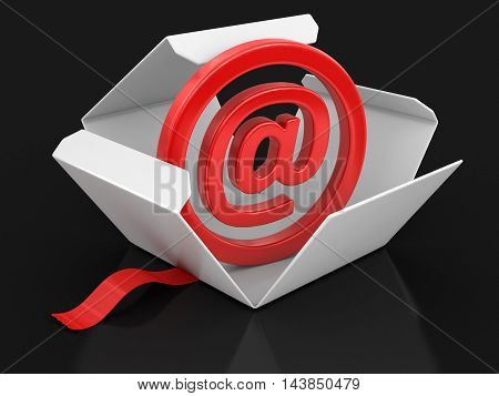 3D Illustration. Open package with E-mail sign. Image with clipping path