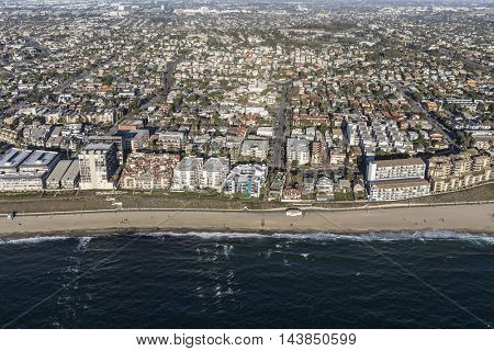 Aerial View of the Redondo Beach Shoreline near Los Angeles in Southern California.
