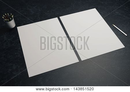 Two blank white paper sheets pen and pencils in cup on dark desktop. Mock up 3D Rendering