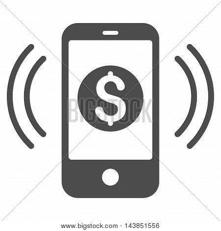 Payment Phone Ring icon. Vector style is flat iconic symbol with rounded angles, gray color, white background.