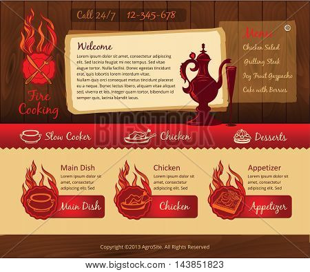 Food vintage template, vector wooden background, fire cooking
