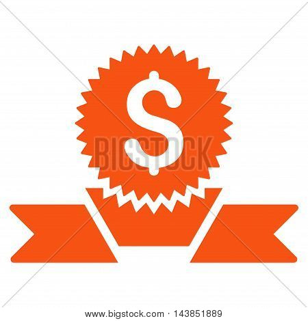 Banking Award icon. Vector style is flat iconic symbol with rounded angles, orange color, white background.
