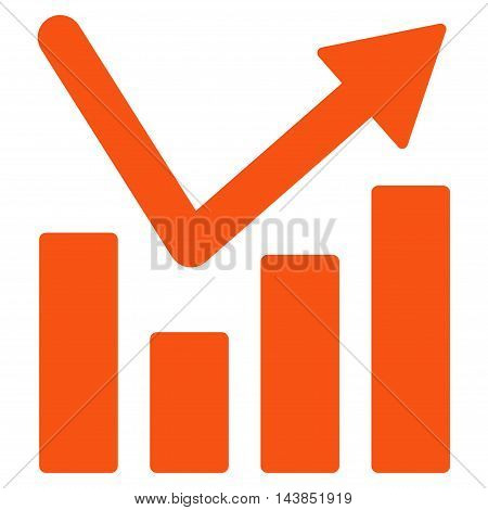 Bar Chart Trend icon. Vector style is flat iconic symbol with rounded angles, orange color, white background.