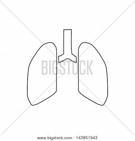 Human lungs icon in outline style isolated on white background