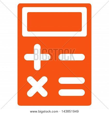 Calculator icon. Vector style is flat iconic symbol with rounded angles, orange color, white background.