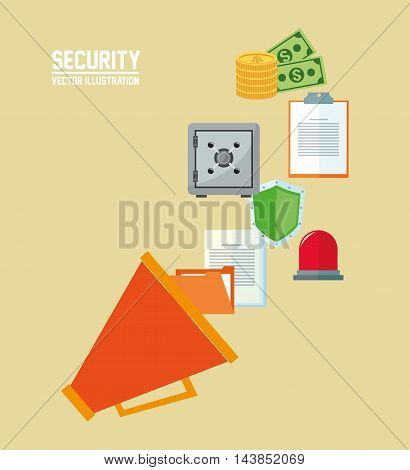 megaphone money shield strongbox cyber security system technology icon. Colorful and flat design. Vector illustration