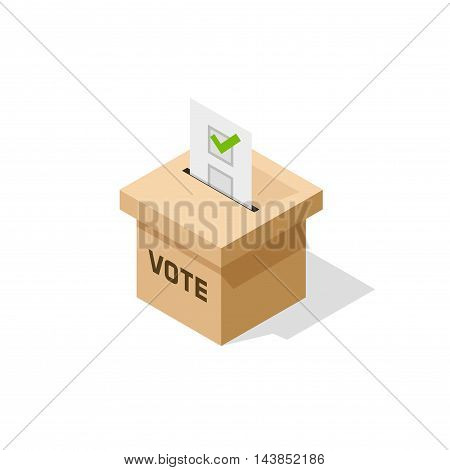 Voting box isometric vector, flat isometric ballot box with paper sheet and voting result inside