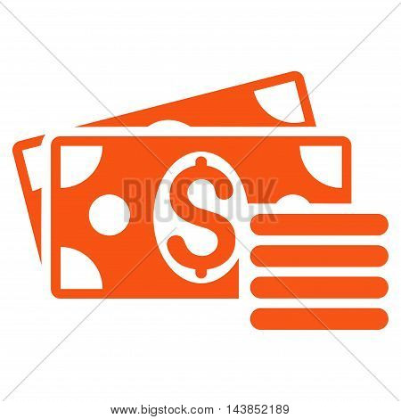 Dollar Cash icon. Vector style is flat iconic symbol with rounded angles, orange color, white background.