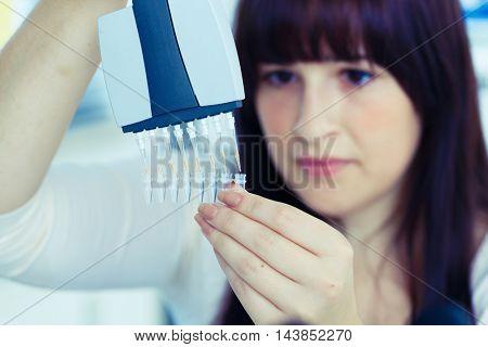 Woman technician use pipette
