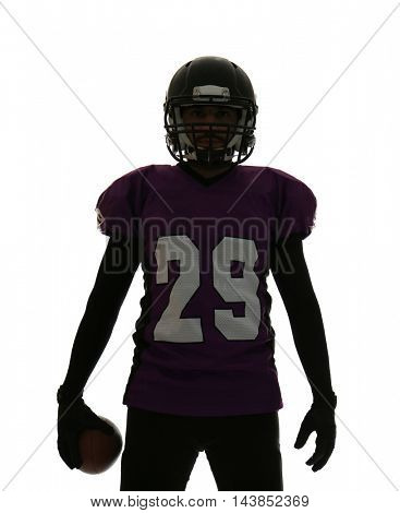 American football player on white background.