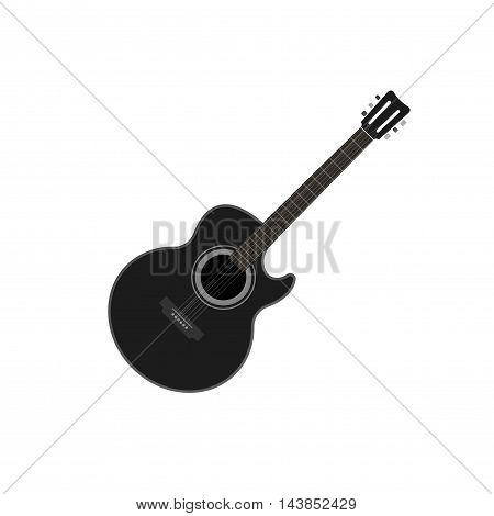 Acoustic guitar vector illustration isolated, black color