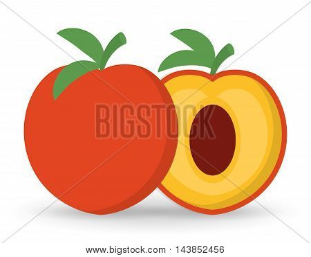peach fruit healthy organic food icon. Colorful and flat design. Vector illustration
