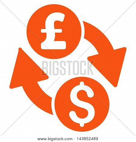 Dollar Pound Exchange icon. Vector style is flat iconic symbol with rounded angles, orange color, white background.