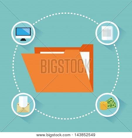 file money computer envelope paper cyber security system technology icon. Colorful and flat design. Vector illustration