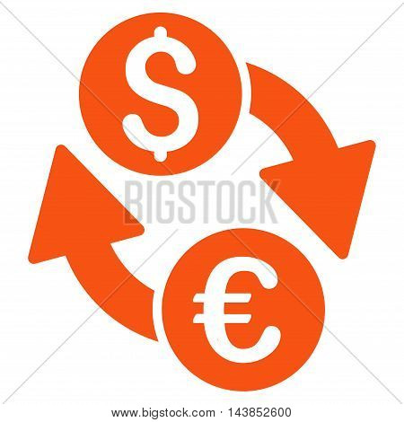 Euro Dollar Exchange icon. Vector style is flat iconic symbol with rounded angles, orange color, white background.