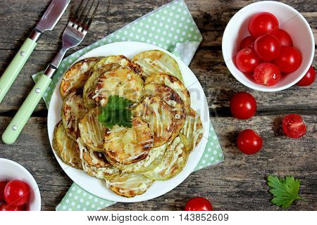 Fried zucchini with garlic and mayonnaise top view