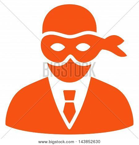 Masked Thief icon. Vector style is flat iconic symbol with rounded angles, orange color, white background.