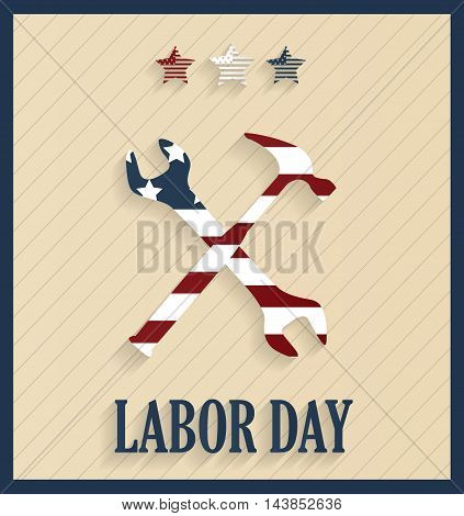 Labor Day retro poster with hammer and wrench. Vector illustration.