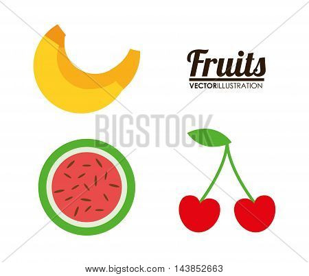 watermelon cherry banana healthy organic food icon. Colorful and flat design. Vector illustration
