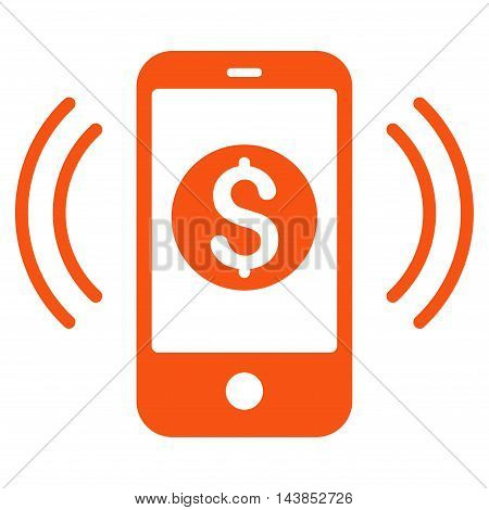 Payment Phone Ring icon. Vector style is flat iconic symbol with rounded angles, orange color, white background.