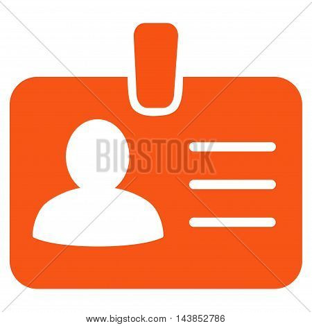 Person Badge icon. Vector style is flat iconic symbol with rounded angles, orange color, white background.