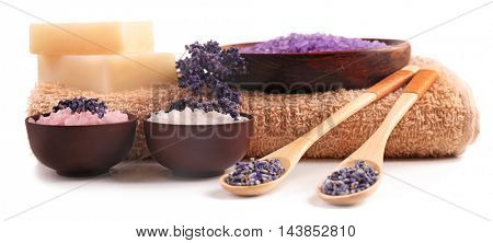 Beautiful spa composition with lavender, isolated on white