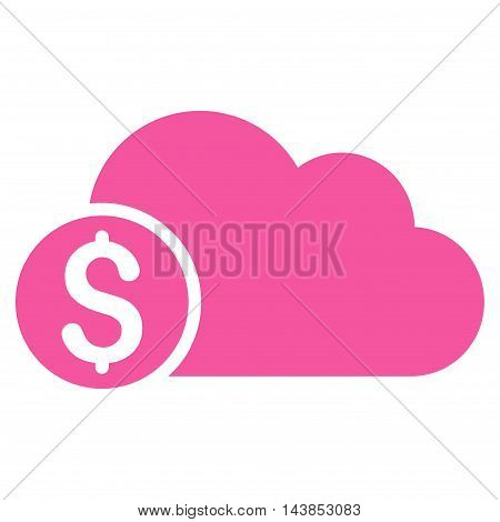 Banking Cloud icon. Vector style is flat iconic symbol with rounded angles, pink color, white background.