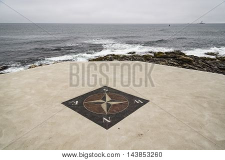 The wind rose near a lighthouse in Rhode Island, USA