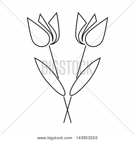 Grave flowers icon in outline style isolated on white background