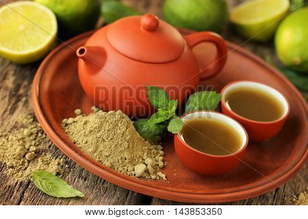 Tea in the Japanese style: matcha tea lime and mint