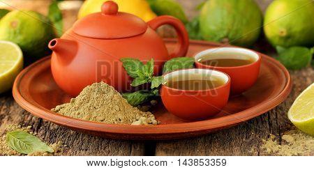 Beautiful Still Life: Japanese powdered green tea matcha