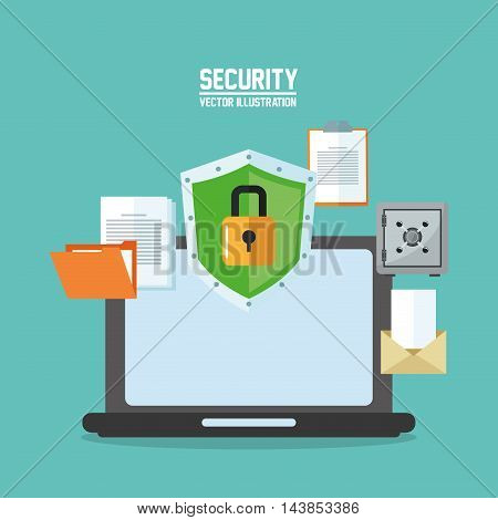 laptop file envelope shield cyber security system technology icon. Colorful and flat design. Vector illustration