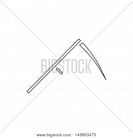 Scythe icon in outline style isolated on white background