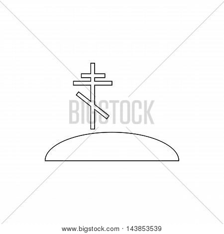 Grave with cross icon in outline style isolated on white background