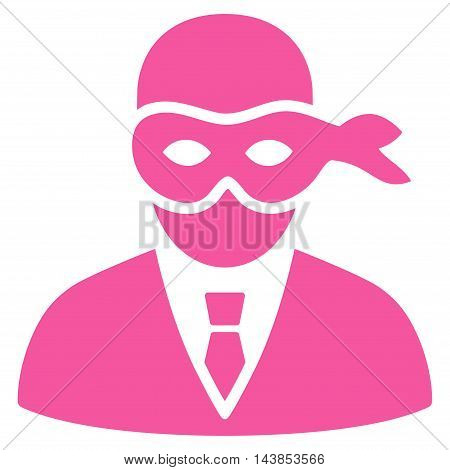 Masked Thief icon. Vector style is flat iconic symbol with rounded angles, pink color, white background.
