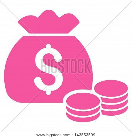 Money Bag icon. Vector style is flat iconic symbol with rounded angles, pink color, white background.
