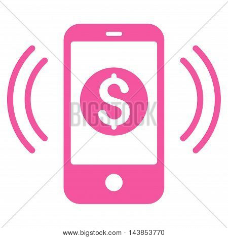 Payment Phone Ring icon. Vector style is flat iconic symbol with rounded angles, pink color, white background.