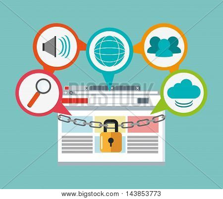 padlock site lupe cloud cyber security system technology icon. Colorful and flat design. Vector illustration