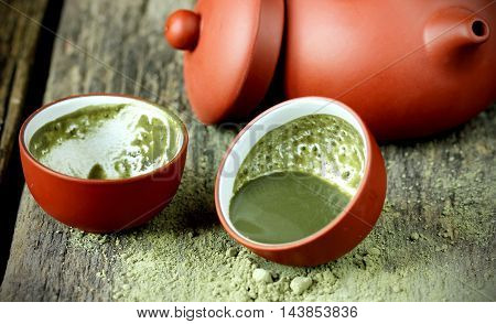 Green tea powder matcha, natural Japanese tea
