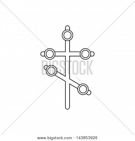Religion cross icon in outline style isolated on white background