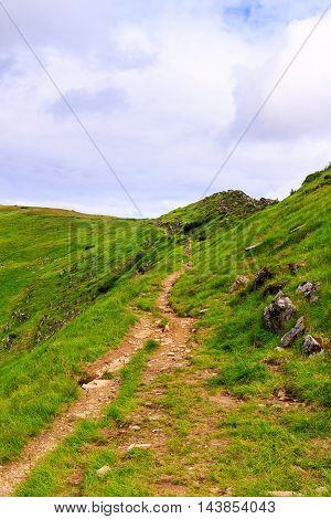 Picturesque Carpathian mountains landscape trail on the ridge Ukraine