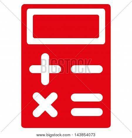 Calculator icon. Vector style is flat iconic symbol with rounded angles, red color, white background.