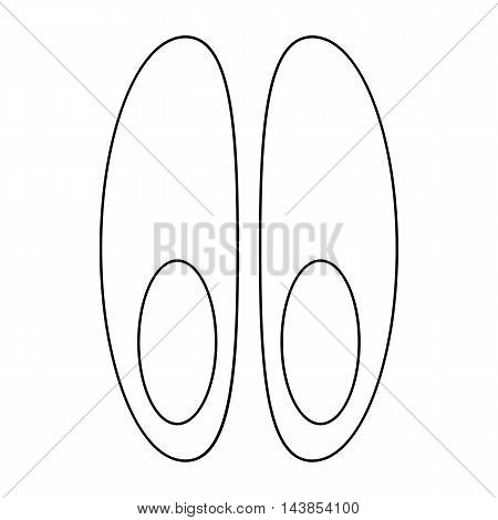 Funeral shoes icon in outline style isolated on white background