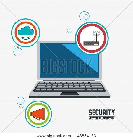 laptop cloud megaphone wifi cyber security system technology icon. Colorful and flat design. Vector illustration